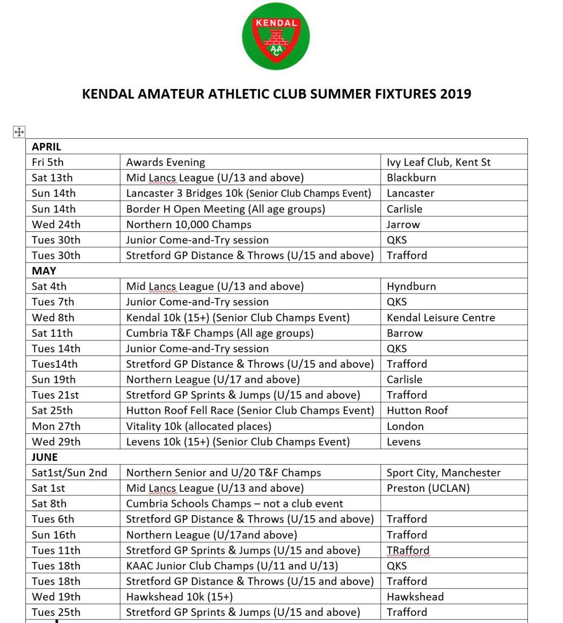 KAAC Summer Fixtures p1